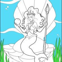 Dibujo para colorear : Princesa sirena