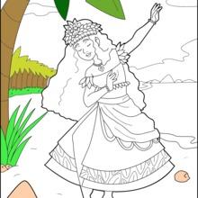 Dibujo para colorear : Princesa Hawaiana