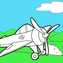 Dibujo para colorear : Avión en la Pista