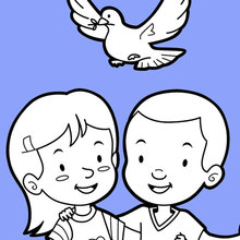 Dibujo para colorear : Amigos y una paloma de paz