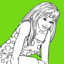 Dibujo para colorear : Barbie y un perro pequeño