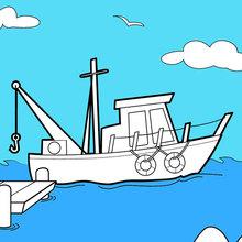 Dibujo para colorear : Barco en los muelles