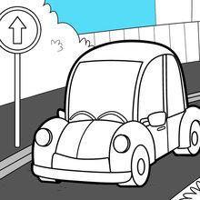 Dibujo para colorear : Coche en la carretera