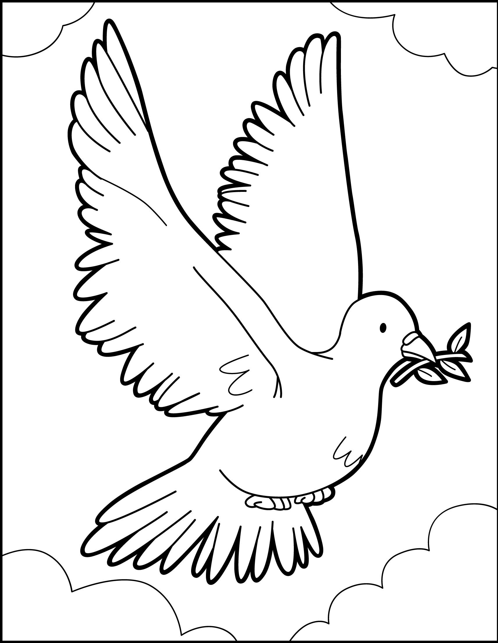 Dibujo para colorear : El vuelo de la paloma de paz