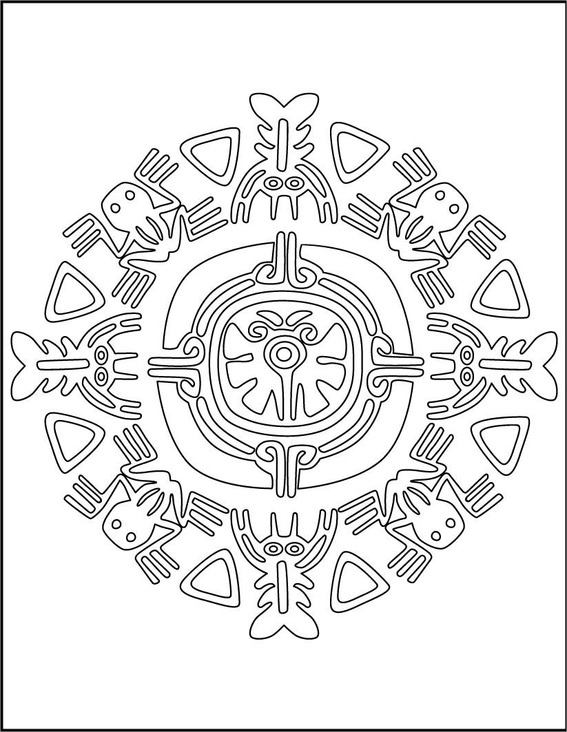 Dibujo para colorear : Mandala de animales Aztecas
