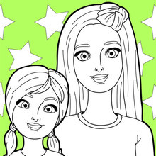 Dibujo para colorear : Barbie y su hermana