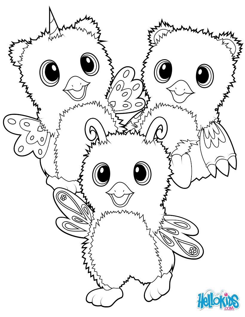 Dibujo para colorear : Hatchimals Burtle, Owlicorn and Bearakeet