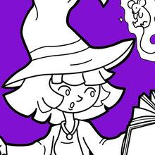 Dibujo para colorear : La bruja de Halloween practica magia