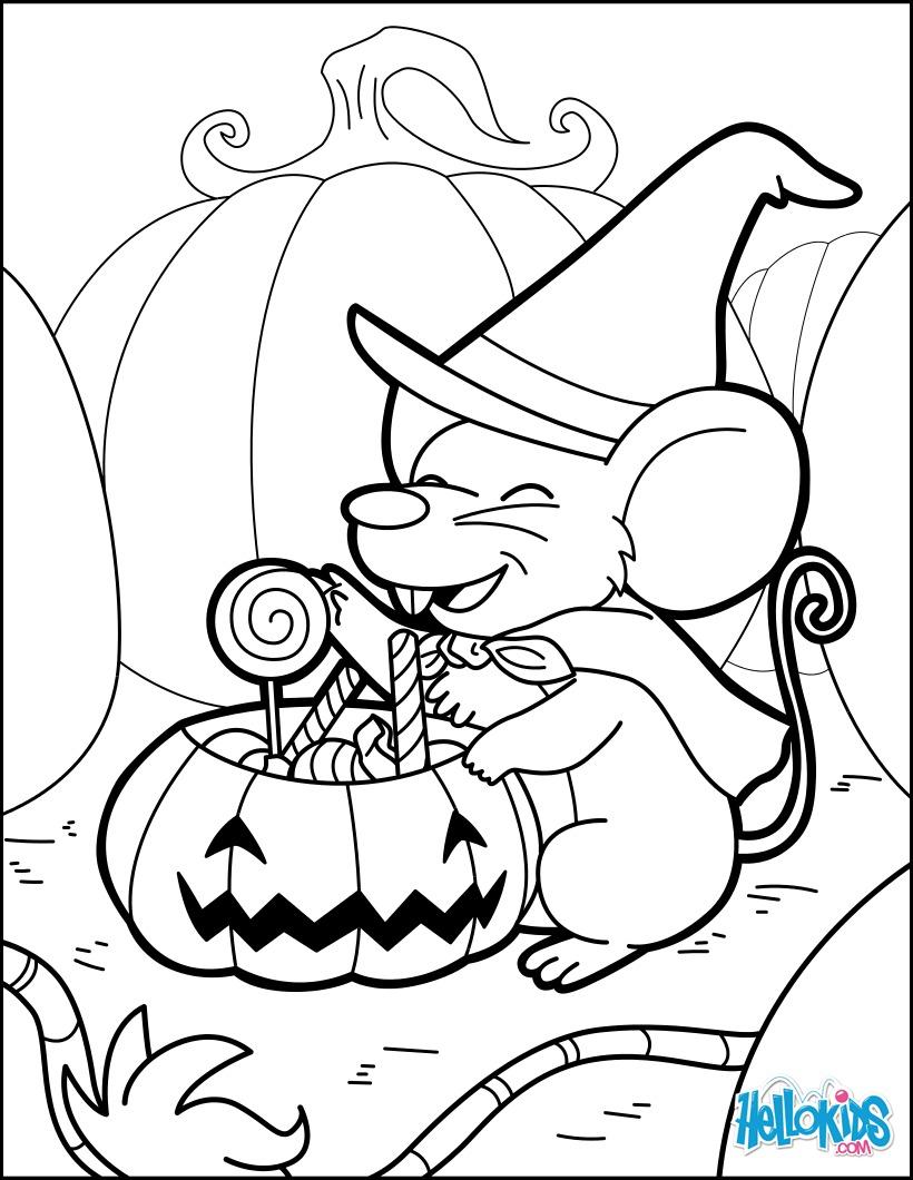 Dibujo para colorear : Un ratón mágico preparando pociones de Halloween