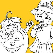 Dibujo para colorear : disfraz de bruja y calabaza de halloween