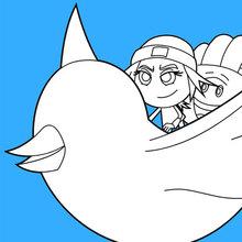 Dibujo para colorear : Jailbreak and Hi-5 volar por el aire en el pájaro de Twitter