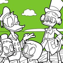 Dibujo para colorear : Donald Duck y Juanito, Jorgito y Jaimito con Rico McPato