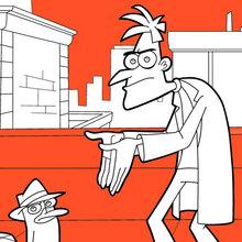 Dibujo para colorear : Perry et Dr. Heinz Doofenshmirtz