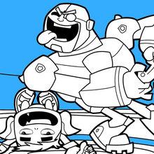 Dibujo para colorear : Teen Titans Beast Boy et Cyborg