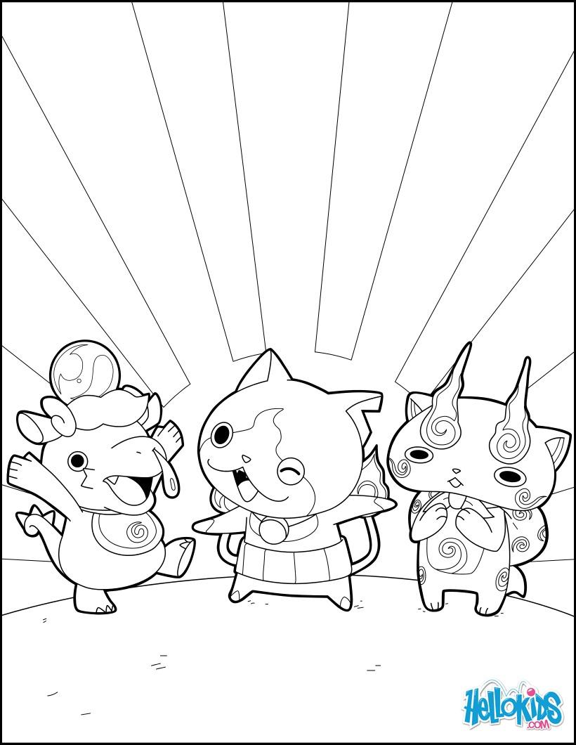Dibujo para colorear : Monstruos Yokai Watch felices
