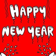Dibujo para colorear : Feliz año nuevo y globos