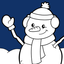 Dibujo para colorear : Feliz muñeco de nieve