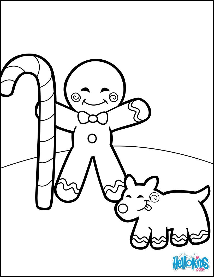 Dibujos para colorear hombre de jengibre y un perro de galletas - es ...