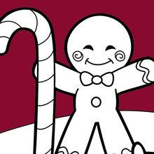 Dibujo para colorear : Hombre de jengibre y un perro de galletas