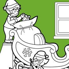 Dibujo para colorear : Los ayudantes de Papa Noel preparan el trineo
