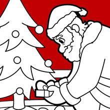 Dibujo para colorear : Papa Noel entrega de regalos
