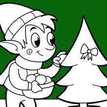 Dibujo para colorear : Un elfo que decora el árbol de Navidad