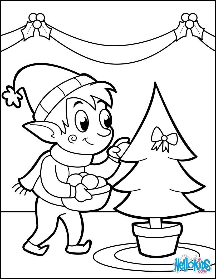 Dibujos para colorear un elfo que decora el árbol de navidad - es ...