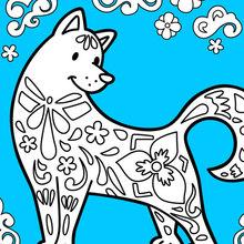 Dibujo para colorear : El perro celebra el año nuevo chino