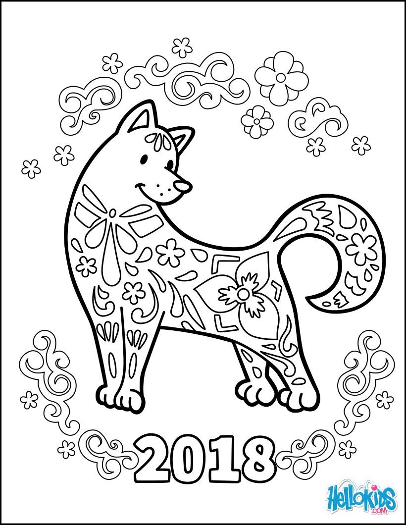 Perfecto Año Nuevo Chino Hojas Para Colorear Bandera - Dibujos Para ...