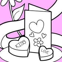 Dibujo para colorear : Tarjeta de San Valentín y chocolates