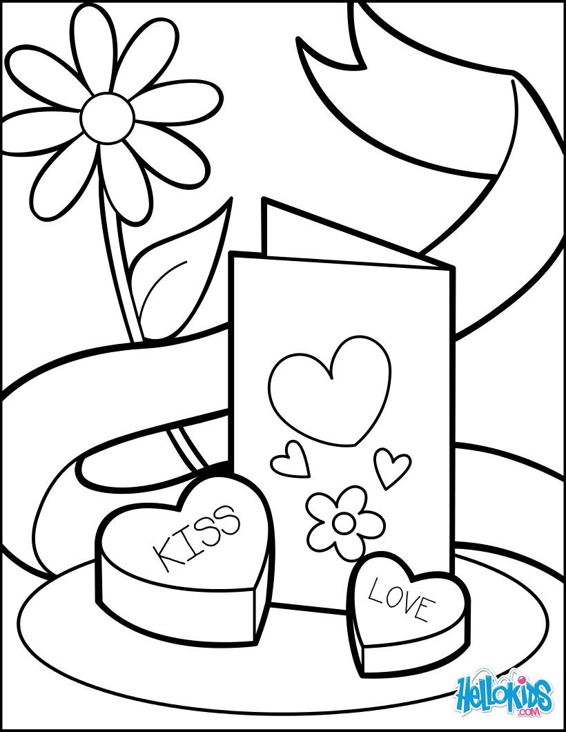 Dibujos para colorear tarjeta de san valentín y chocolates - es ...