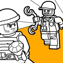 Dibujo para colorear : La persecución de la policía de Lego