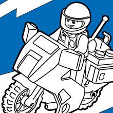 Dibujo para colorear : Motor de la policía de Lego