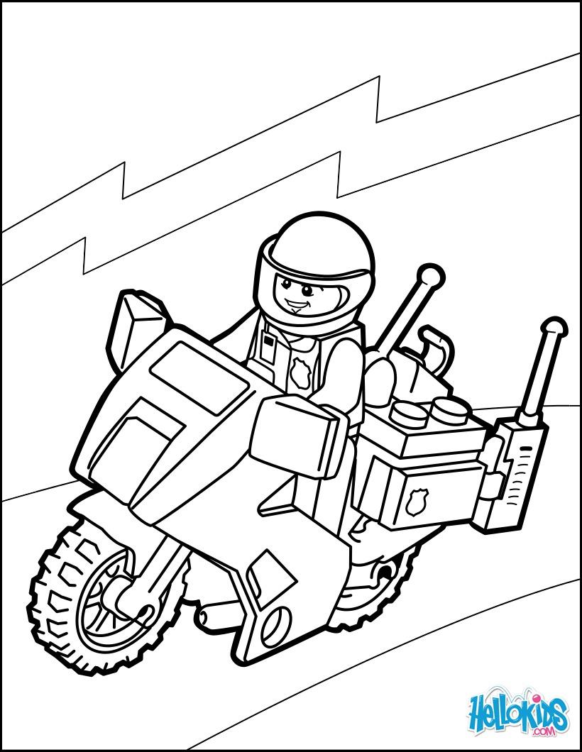 Dibujos para colorear motor de la policía de lego - es.hellokids.com