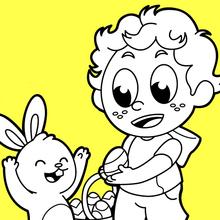 Dibujo para colorear : Buscando huevos de Pascua