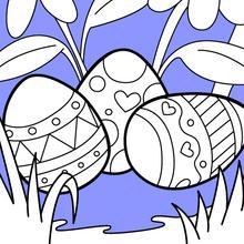 Dibujo para colorear : Hermosos huevos de Pascua