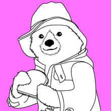 Dibujo para colorear : Paddington se come un bocadillo de mermelada