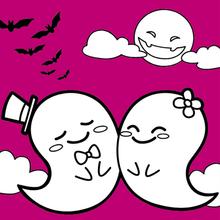 Dibujo para colorear : Fantasmas Enamorados.