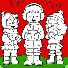Dibujo para colorear : Les enfants chantent à Noël