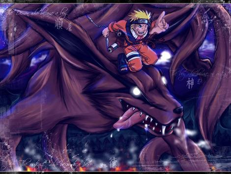 Naruto convertido en el zorro de 9 colas