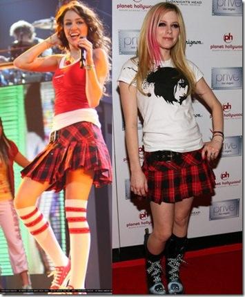Miley Cyrus con falda igual a Avril Lavigne