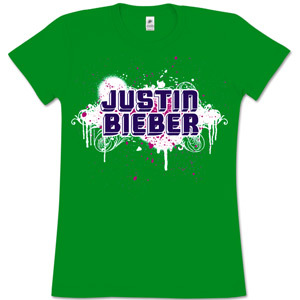 Justin Bieber Paint Girls' Jr Green T-Shirt