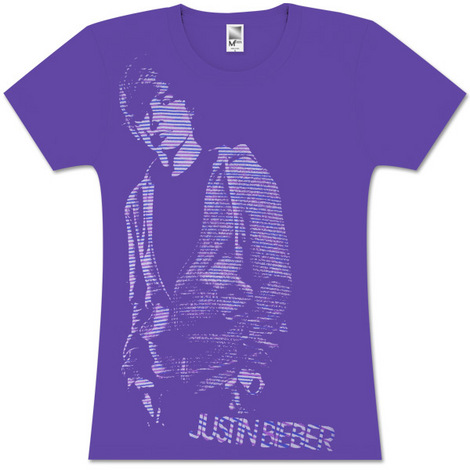 Justin Bieber Stripe Photo Girls Fitted T-Shirt