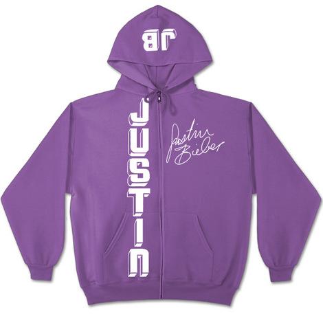 Justin Bieber Vertical Logo Purple Zip Hoodie