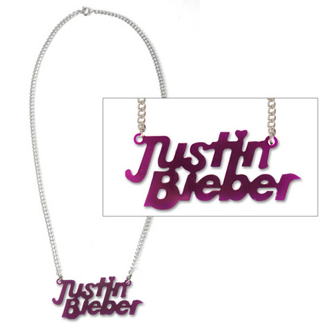 Justin Bieber Purple Acrylic Logo Necklace