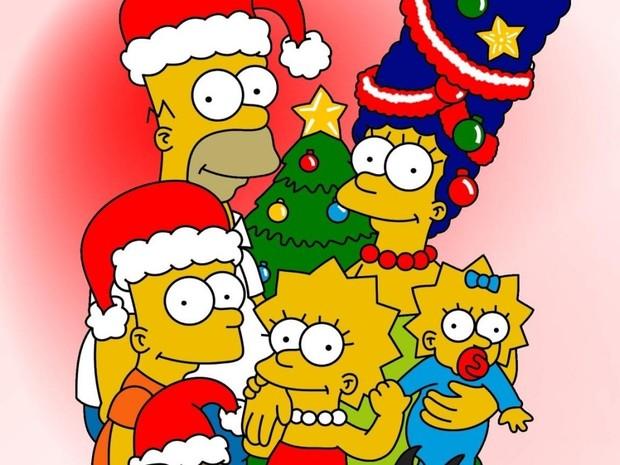Fondo de Navidad familia SIMPSON