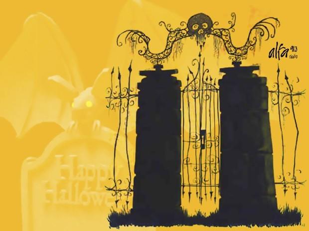 Fondo halloween negro y amarillo