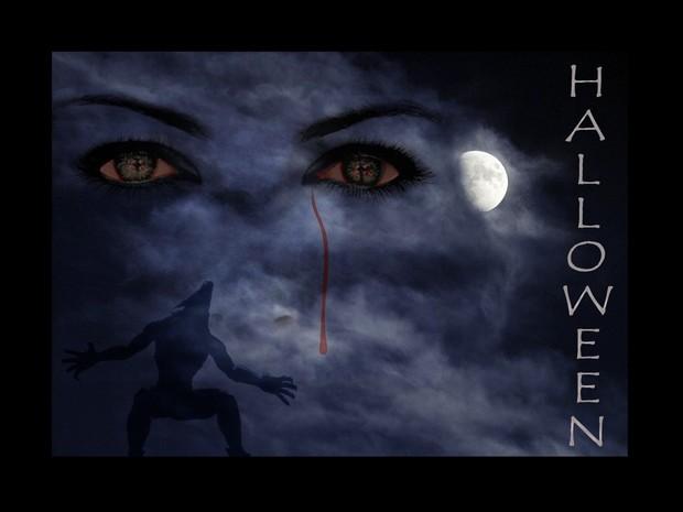 Fondo halloween ojos de vámpiro