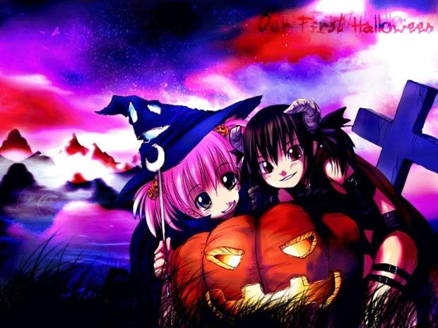 Fondo halloween brujas manga