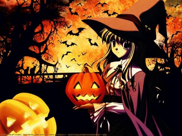 Fondo halloween murcielagos y bruja